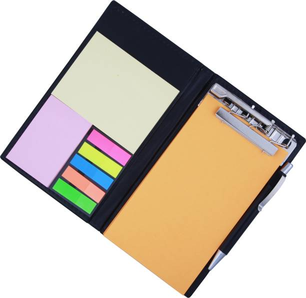 COI MEMO NEON ORANGE NOTE PAD/MEMO NOTE BOOK WITH STICKY NOTES & CLIP HOLDER IN DIARY STYLE A5 Memo Pad unruled 50 Pages