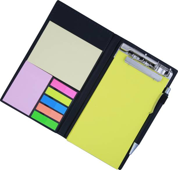 COI MEMO NEON LEMON GREEN NOTE PAD BOOK WITH STICKY NOTES & CLIP HOLDER IN DIARY STYLE A5 Memo Pad UNRULED 50 Pages