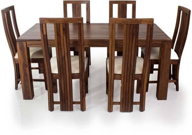 EVOK Della Solid Wood 6 Seater Dining Set