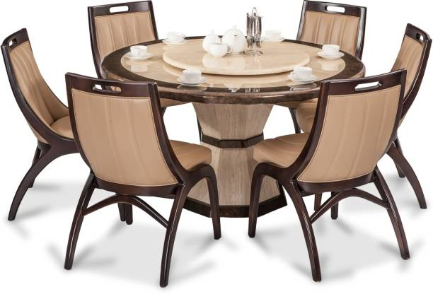 Durian FENG/35404 Stone 6 Seater Dining Set