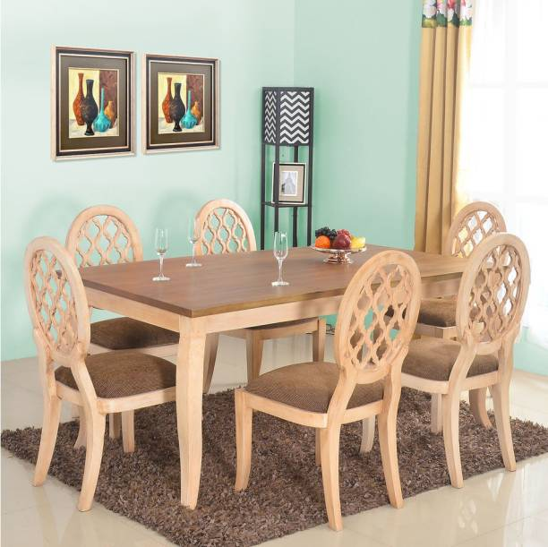 @Home by nilkamal Miraya Solid Wood 6 Seater Dining Set