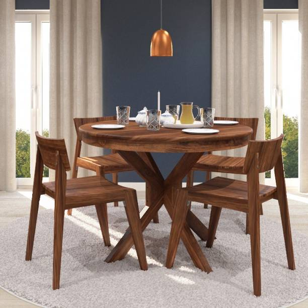Urban Ladder Liana Round Solid Wood 4 Seater Dining Table