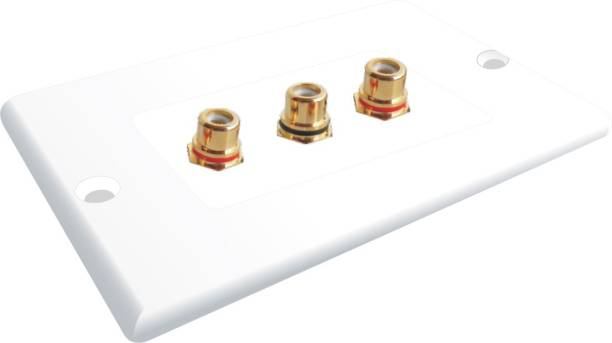 MX 3 SOCKET RCA FEMALE WALL PLATE FACEPLATE Dock