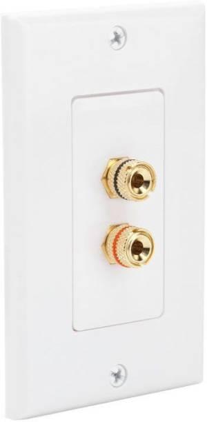 MX 2 SOCKET BANANA BINDING POST FEMALE Speaker Cable WALL PLATE FACEPLATE (114 X 70 mm) Dock