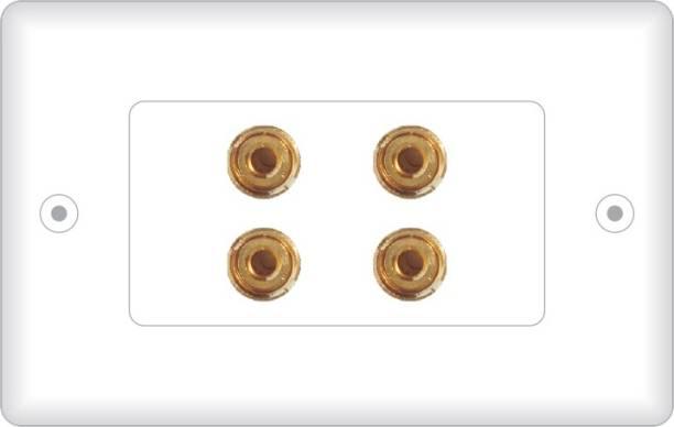 MX 4 SOCKET BANANA BINDING POST FEMALE Speaker Cable WALL PLATE FACEPLATE (114 X 70 mm) Dock