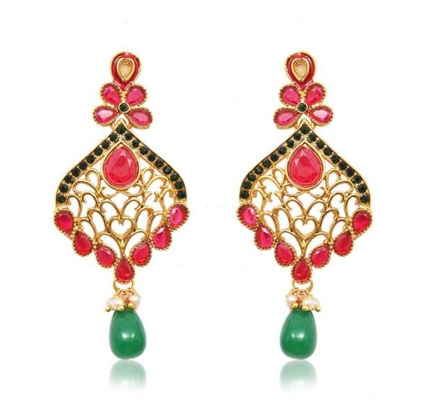 Ratnakar Gorgeous Ruby Alloy Chandbali Earring