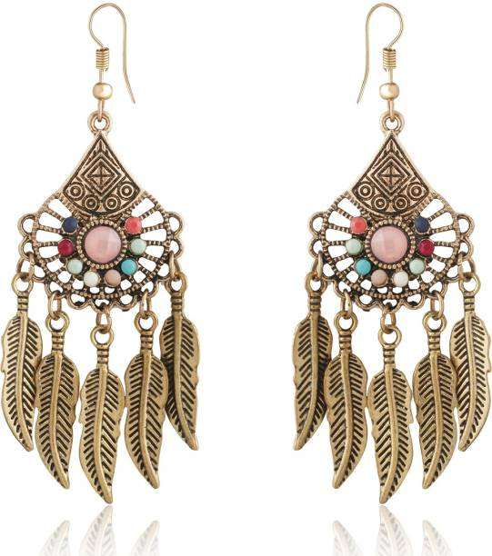 773b51a3c Spargz Long Fashion Color Beads Leaves Dangle Earrings For Women Beads  Alloy Dangle Earring