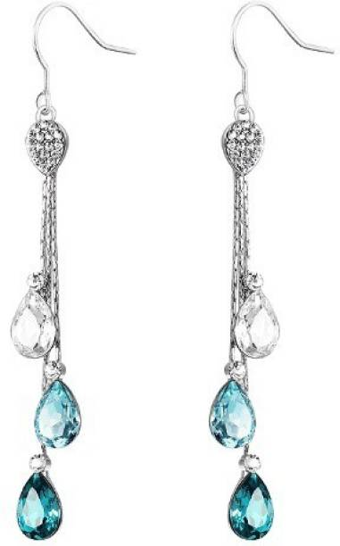 Wearyourfashion Three Shades Of Rain Drops Swarovski Crystal Alloy Dangle Earring