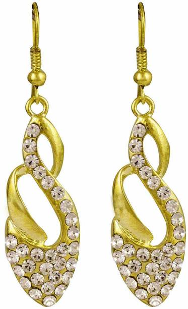 Glitters Online Gold Plated Designer Hangings For Women Cubic Zirconia Br Drop Earring