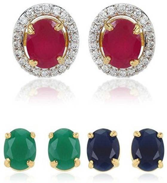 3437a81d2 Bandish Multicolour Interchangeable 3 in 1 Stone studded Cubic Zirconia  Alloy Stud Earring