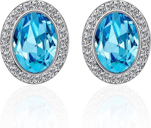 36c3e90fc2e33a Yellow Chimes Glamorous Blue Hues Oval Swarovski Crystal Alloy Stud Earring