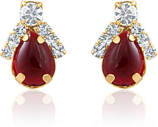 Oviya Charismatic Lure Crystal Ruby Alloy Br Stud Earring