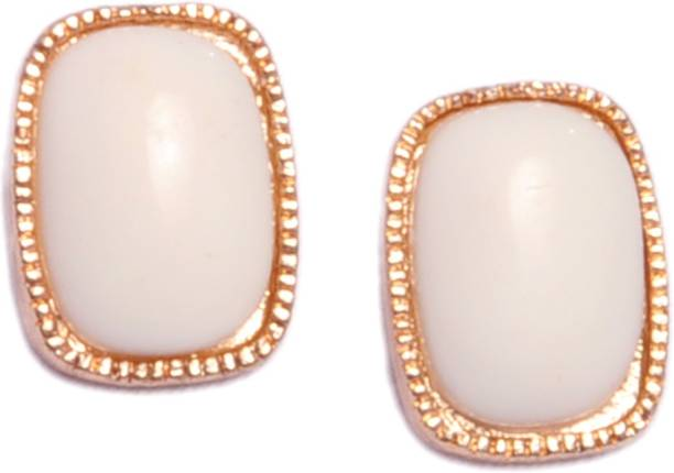 Trinklets Chic White Oversized Metal Acrylic Stud Earring
