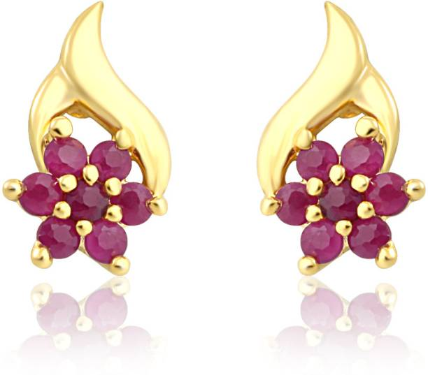 Mahi Red Flare Ruby Alloy Br Stud Earring