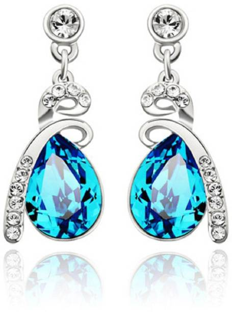 Swarovski Elements Austria Blue Rhinestone Platinum Plated For Women Crystal Metal Drop Earring