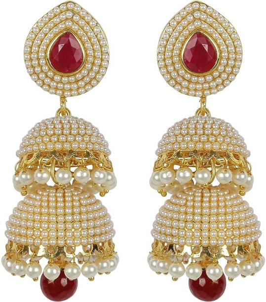 Royal Bling Glittering Pearl Marsala 2 Layer Br Jhumki Earring