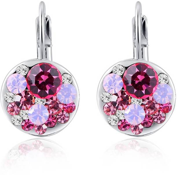 Swarovski Elements Pink Zircon Dangle Gift For Women Crystal Metal Stud Earring