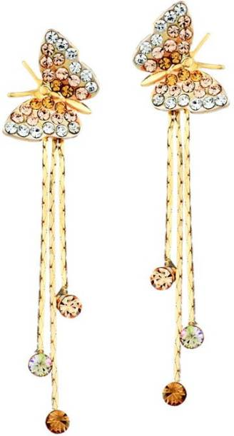 Yellow Chimes Erfly And Strings Cubic Zirconia Alloy Drop Earring