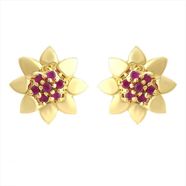 Mahi Sun Flower Ruby Alloy Br Stud Earring