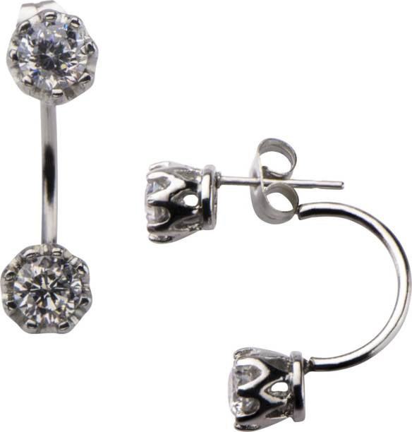 7f5170503 Inox Jewelry Front & Back Cubic Zirconia Stainless Steel Stud Earring