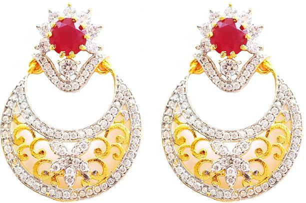 e3f6ddfee Aashya Mayro MAROON SEMI-PRECIOUS STONE AND CZ DIAMOND GOLDEN Cubic  Zirconia Brass Drop Earring