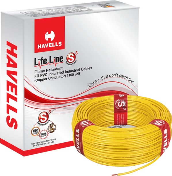 Wires Buy Electrical Online At Best Prices In India. Havells Fr Pvc 6 Sqmm Yellow 90 M Wire. Wiring. Yellow Wiring One Wire At Scoala.co