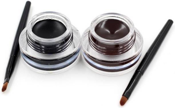 Highfly Music Flower 2 in 1 Black & Brown Water Proof & Smudge Proof 24hrs Gel Eyeliner / Kajal 3+3=