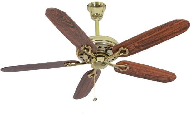 Usha fans buy usha fans online at best prices in india flipkart usha hunter savoy bright brass 1320 5 blade ceiling fan aloadofball Images