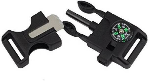Djuize Survial buckle side release 20mm with whistle campass blade Flint Fire Starter Striker Included