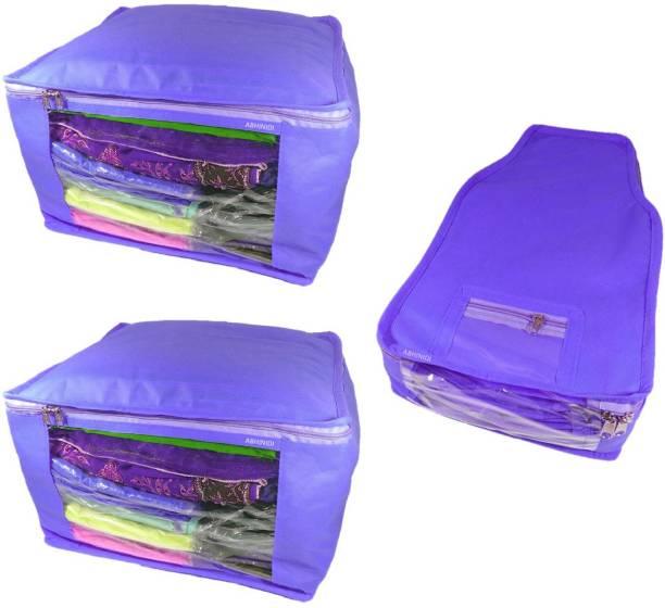 Abhinidi High Quality Combo of Non-Woven Plain 2PC Saree Cover 1PC Blouse  Cover Capacity 076ed7ff57173