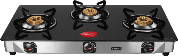 Pigeon Blackline Smart Glass, Stainless Steel Manual Gas Stove