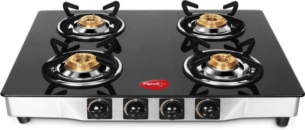 Pigeon Blackline Square Glass, Stainless Steel Manual Gas Stove