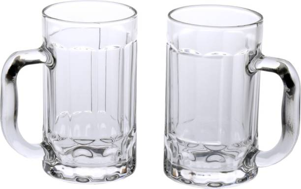 Somil (Pack of 2) Trandy & New Design Stylish Glass Beer Mug With Handle Set Of 2 Glass Set
