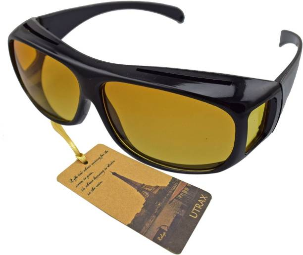 89d6ead1b5f4 VibeX ® Utrax Clear View Vision UV Protection Wraparound Driving Glasses  Sunglasses Black Yellow Lens Fits