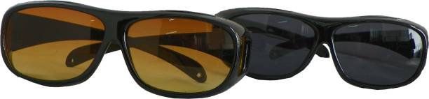 f2ab53ba76 Wonder World ™ HD Night Vision Wraparounds Polarized Eyeglasses Motorcycle  Goggles