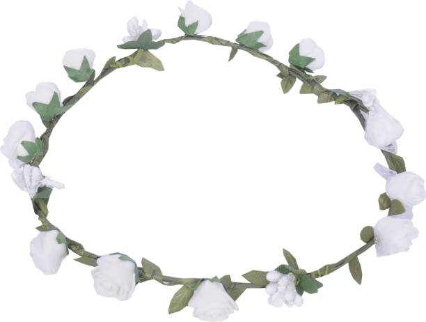 Flower crown buy flower crown online at best prices in india sanjog white flower gracious tiara crown for wedding party beach for women girls head band mightylinksfo