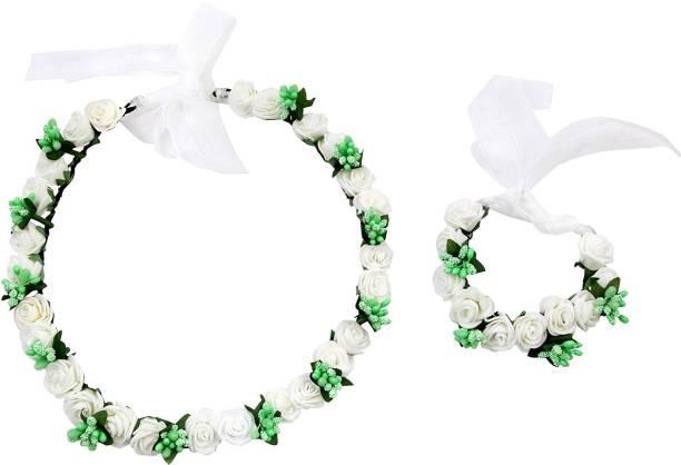 Sanjog Pretty Girl Flower Crown And Hand Tiara Puff Wrap For Wedding Prom  Beach Head bd7ea4e6582