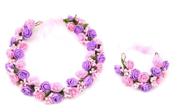 Sanjog Fashion Flower Crown And Hand Tiara Puff Wrap For Wedding Prom Beach  Head Band 9d9e35375c8