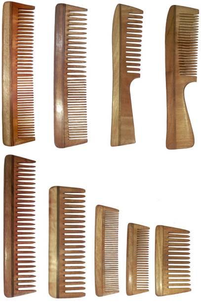 Ginni Marketing Combo of 9 Neem Wood Combs