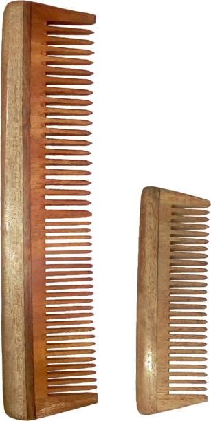 "Ginni Marketing Combo of 2 Neem Wood Combs (regular-7.5"" and baby/small-4"" )"