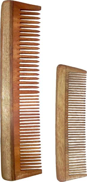 "Ginni Marketing Combo of 2 Neem Wood Combs (regular-7.5"" and baby/small-5"" )"