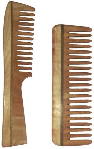 Ginni Marketing Combo of 2 Neem Wood Combs (detangler handle + Medium detangler)