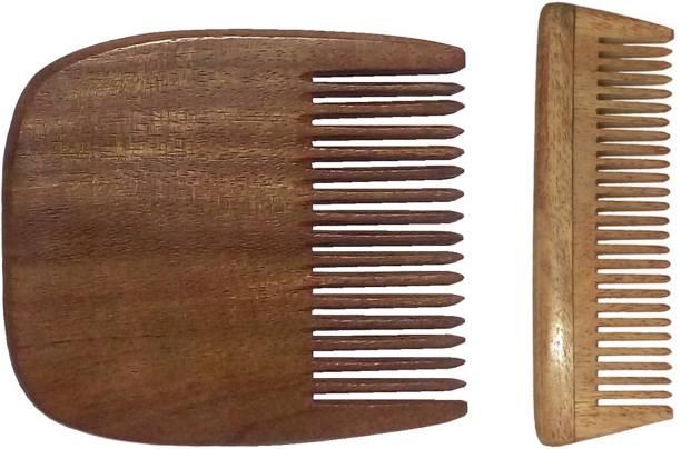 Ginni Marketing Combo of 2 Ginni Beard and 4inches Neem wood baby combs.
