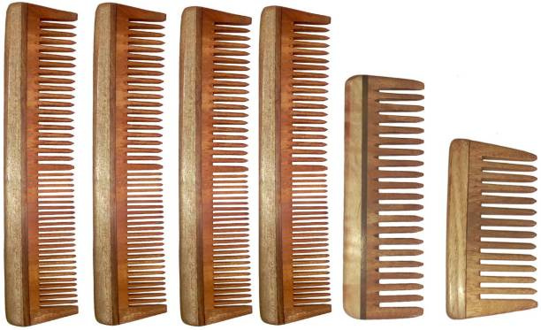 Ginni Marketing Combo of 6 Neem Wood Combs ( regular + medium and baby detangler)
