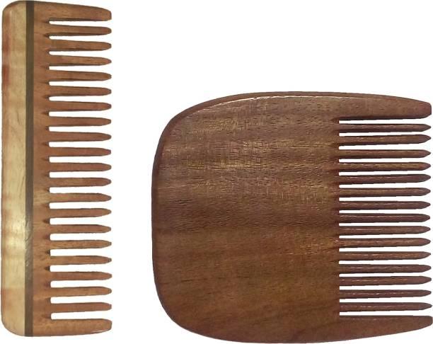 "Ginni Marketing Combo of 2 Neem Wood Combs (Medium detangler-6"" and regular beard-3.75"" )"