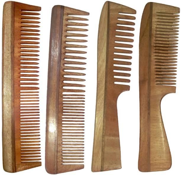 Ginni Marketing Combo of 4 Neem Wood Combs (Regular+Handle)