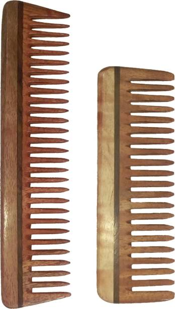 "Ginni Marketing Combo of 2 Neem Wood Combs (detangler:regular size-7.5"" and medium detangler-6"" )"