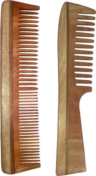 "Ginni Marketing Combo of 2 Neem Wood Combs (regular and detangler handle )-7.5"" each"