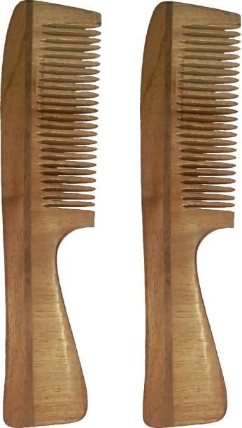 Ginni Marketing Combo of 2 Neem Wood Combs (regular handle)