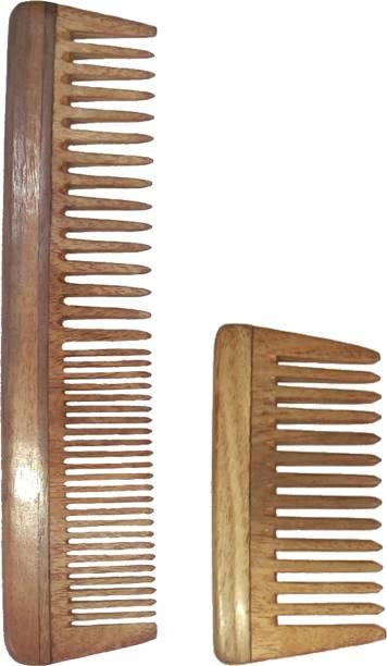 "Ginni Marketing Combo of 2 Neem Wood Combs (regular detangler-7.5"" and small/baby detangler-4"" )"
